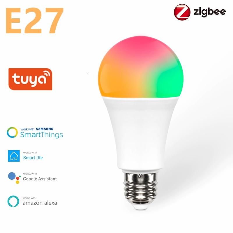 Tuya Zigbee 3,0 светодиодный E27 светодиодный лампы AC100-240V 9 Вт лампада Светодиодный точечный светильник Настольная лампа светодиодные лампы светил...