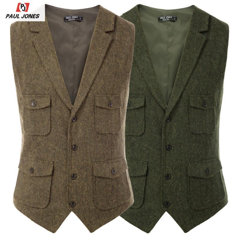 PAUL JONES Men's Vintage Notch Lapel Suit Vest Coat Single Breasted Handkerchief Hem Sleeveless Suit Jacket Waistcoat PJE02028