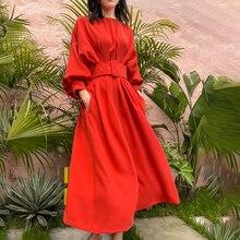 [Ewq] Korea Chic Trendy Vrouwen Nieuwe Een-Woord Kraag Rode Vleermuis Mouw Riem Mode Eenvoud Losse Pocket jurk Zomer 2021 16E1091
