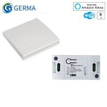 GERMA RF Wifi Wireless 433MHz Relay 1 CH 220V Receiver Smart Home Switch Module 86 Wall Panel Remote Control Switch 10A 2200W