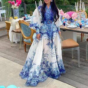 Summer 2020 New Linen Blue Floral Puff Sleeve Printed Long Dress Women