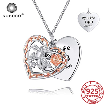 AOBOCO 925 Sterling Silver Heart Pendant Necklace Hollow Flower Two Layers Woman's Jewelry Valentine's Day Gift Anniversary Gift