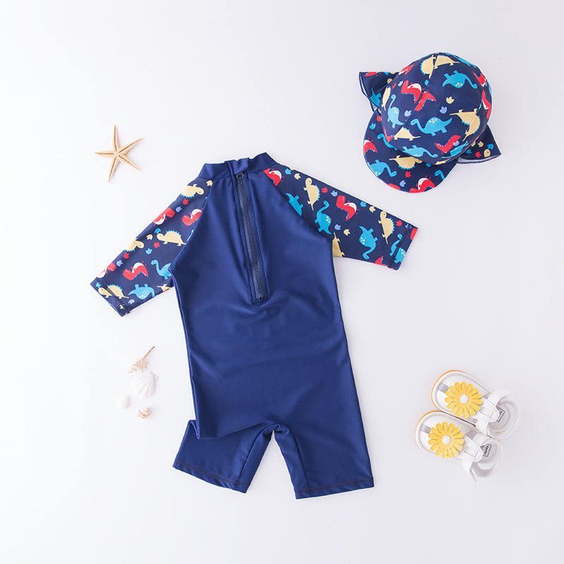 Men's One-piece Swimming Suit Blue Dinosaur World-KID'S Swimwear Hot Springs Clothing
