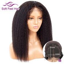 Soft Feel Hair Перуанские 4x4 кудрявые прямые парики шнурка с волосами младенца бесклеевая Remy Закрытие человеческих волос парики для черных женщин