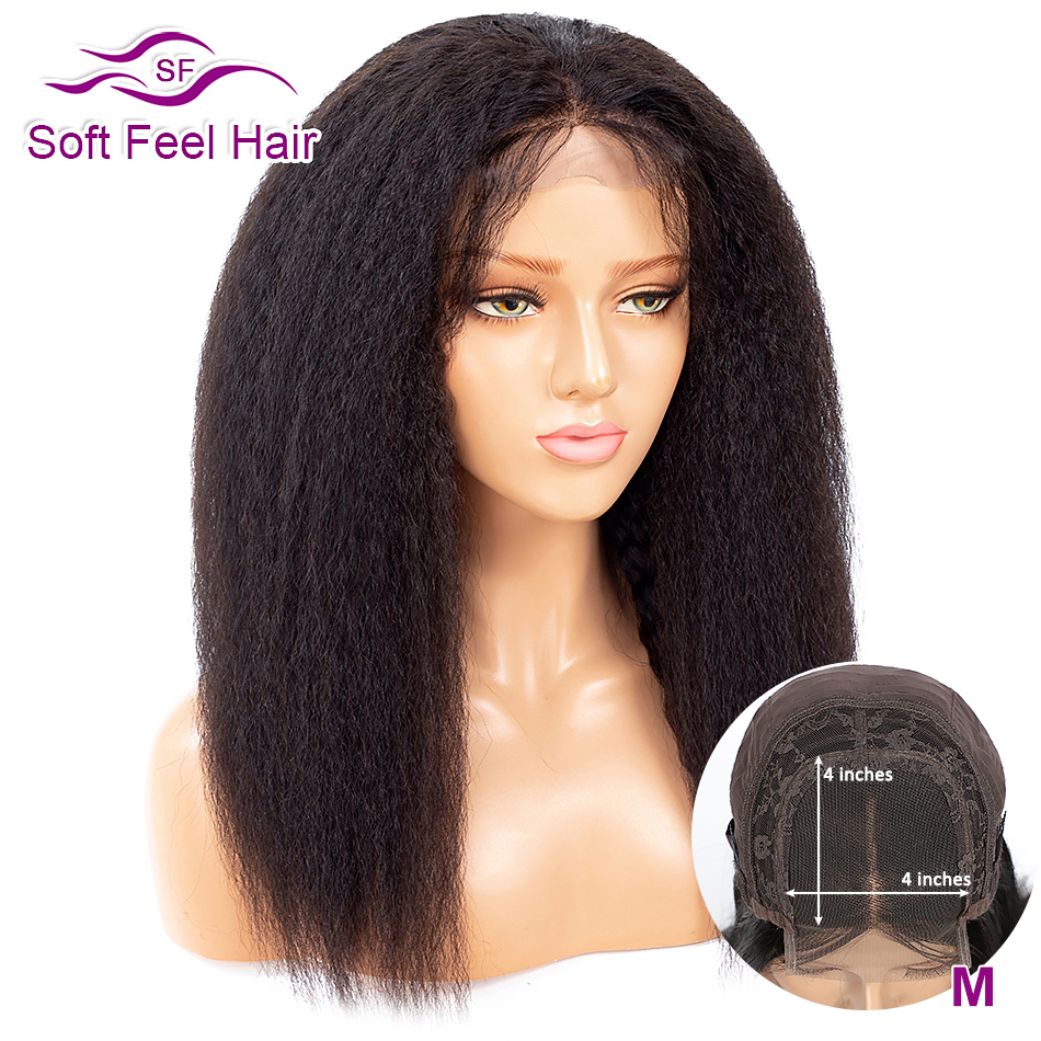 Peruvian Kinky Straight 4x4 Lace Closure Wig With Baby Hair Remy Human Hair Closure Wigs For Women Soft Feel Hair Middle Ratio