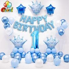 1 conjunto azul rosa coroa balões de aniversário número hélio folha balão para o bebê menino menina 1st aniversário decorações crianças chuveiro