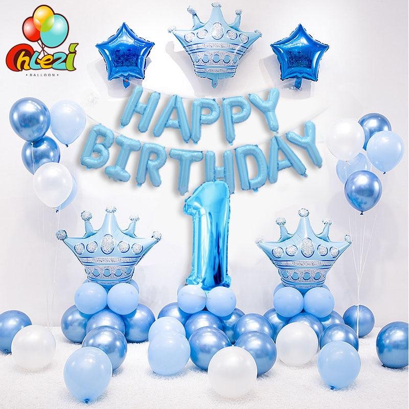 1 definir Azul Rosa Coroa Número Aniversário Balões de Hélio Folha de Balão para o Bebê Da Menina do Menino 1st Aniversário Decorações Do Partido Crianças chuveiro