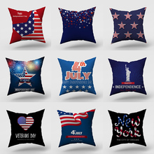 Pillowcase 45 * 45CM American flag five-pointed star printed pillowcase Home sofa pillow cushion cover decorative pillowcase creative color matching five pointed star pattern square shape pillowcase without pillow inner