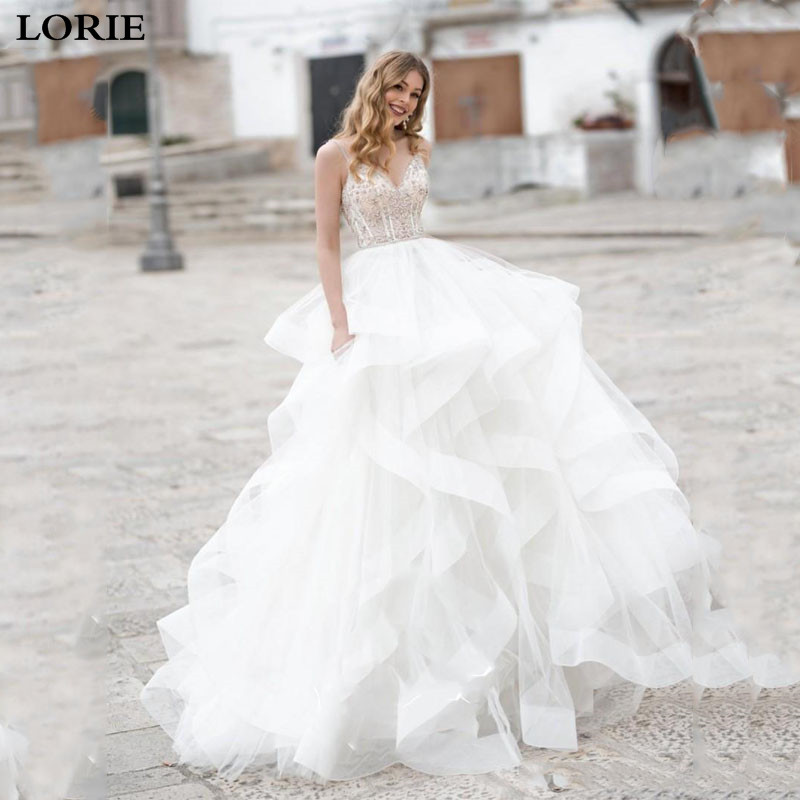 LORIE A Line Wedding Dress Spaghetti Strap Lace Sexy Bridal Dresses With Crystal Boho Vestidos De Novia Wedding Gowns