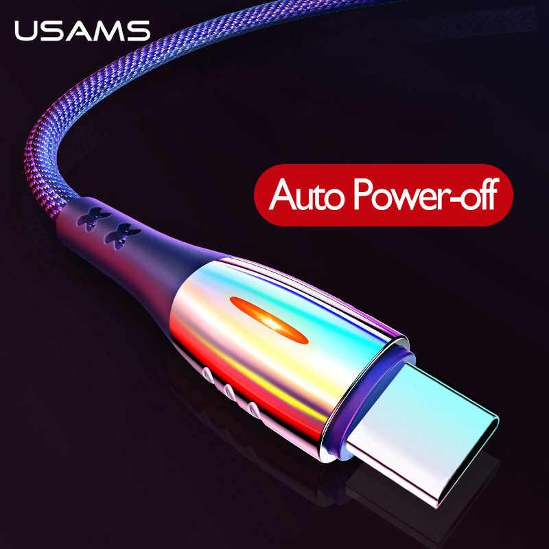 USAMS Smart Power off QC3.0 ประเภท C ชาร์จป้องกันสายสำหรับ Samsung Huawei Xiaomi USB C Auto DISCONNECT Type-C