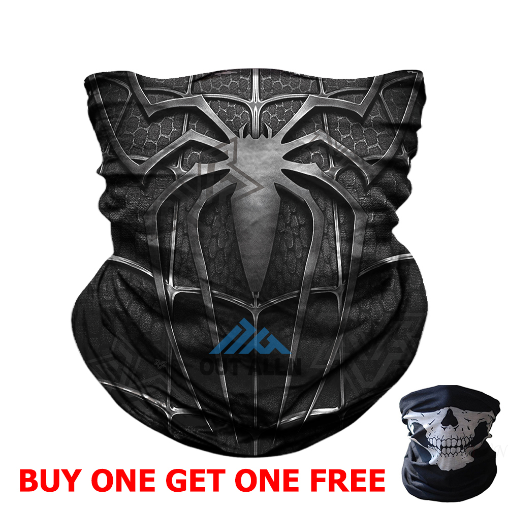 Buy One Get One Halloween Cosplay Face Mask Spiderman Tube Scarf Cycling Fack Shield Quick Drying Headband Tube Bandana Headwear