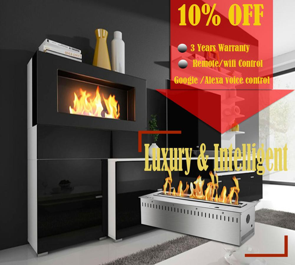 On Sale 24 Inch Stainless Chimenea Bioetanol Electrica Burner Indoor Usage Remote Fireplace