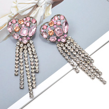 Wholesale Heart-Shaped Metal Hollowed-out Dangle Long Drop Earrings Hanging Crystals Chain Tassels Jewelry Accessories For Women artificial crystal floral hollowed heart drop earrings