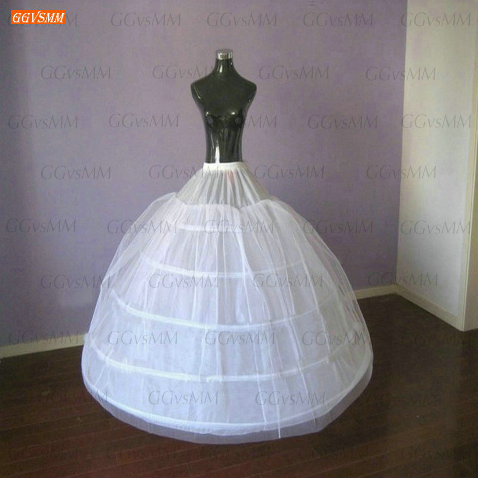 Fashion White 5 Hoops Petticoats Long Princess Fluffy Tulle Ball Gown Wedding Accessories Women Skirt Underskirt Bride Petticoat