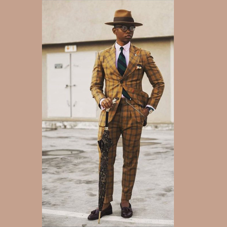 Formal Men Suits High Quality Grid 2019 Slim Fit Velvet Lapel Groom Suit Mens Tuxedo Blazer Wedding/Prom Suits 2 Piece