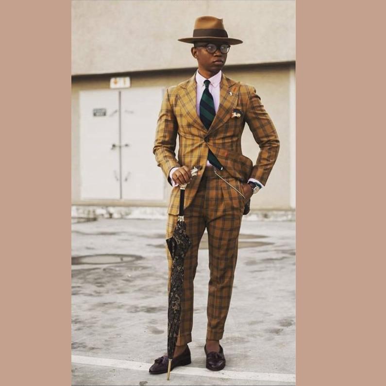 Formal Men Suits High Quality Grid 2019 Slim Fit Velvet Lapel Groom Suit Mens Tuxedo Blazer Wedding/Prom Suits 2 Piece