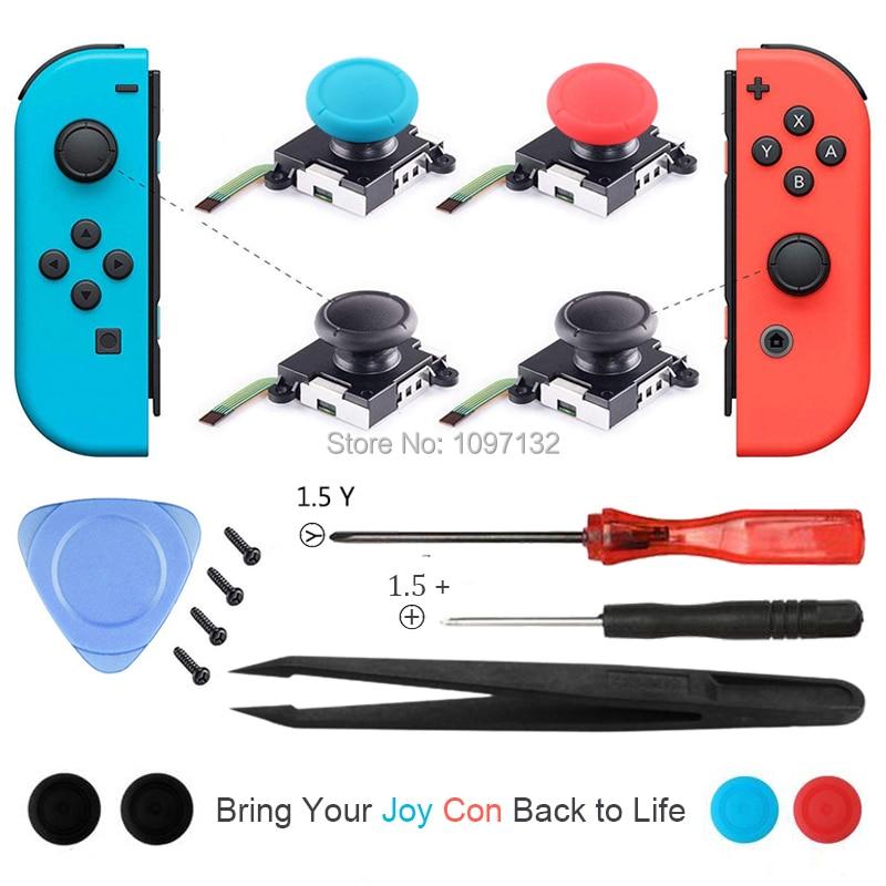 Joycon analógico 3D, palanca de mando, barras de pulgar, accesorios de reemplazo de Sensor para Nintendo Switch Joy Con carcasa de controlador Con Kit de herramientas