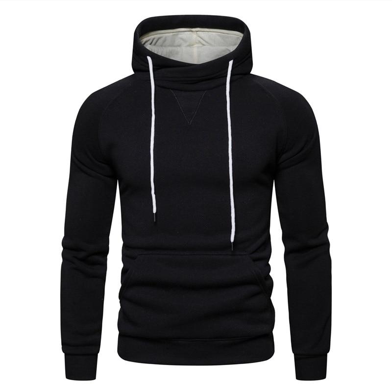2019 New Autumn Winter Cotton Hoodied Mens Sweatshirts Solid Hoody Fleece Thick Hoodies Men Sportswear Zipper Sweatshirts Men 24