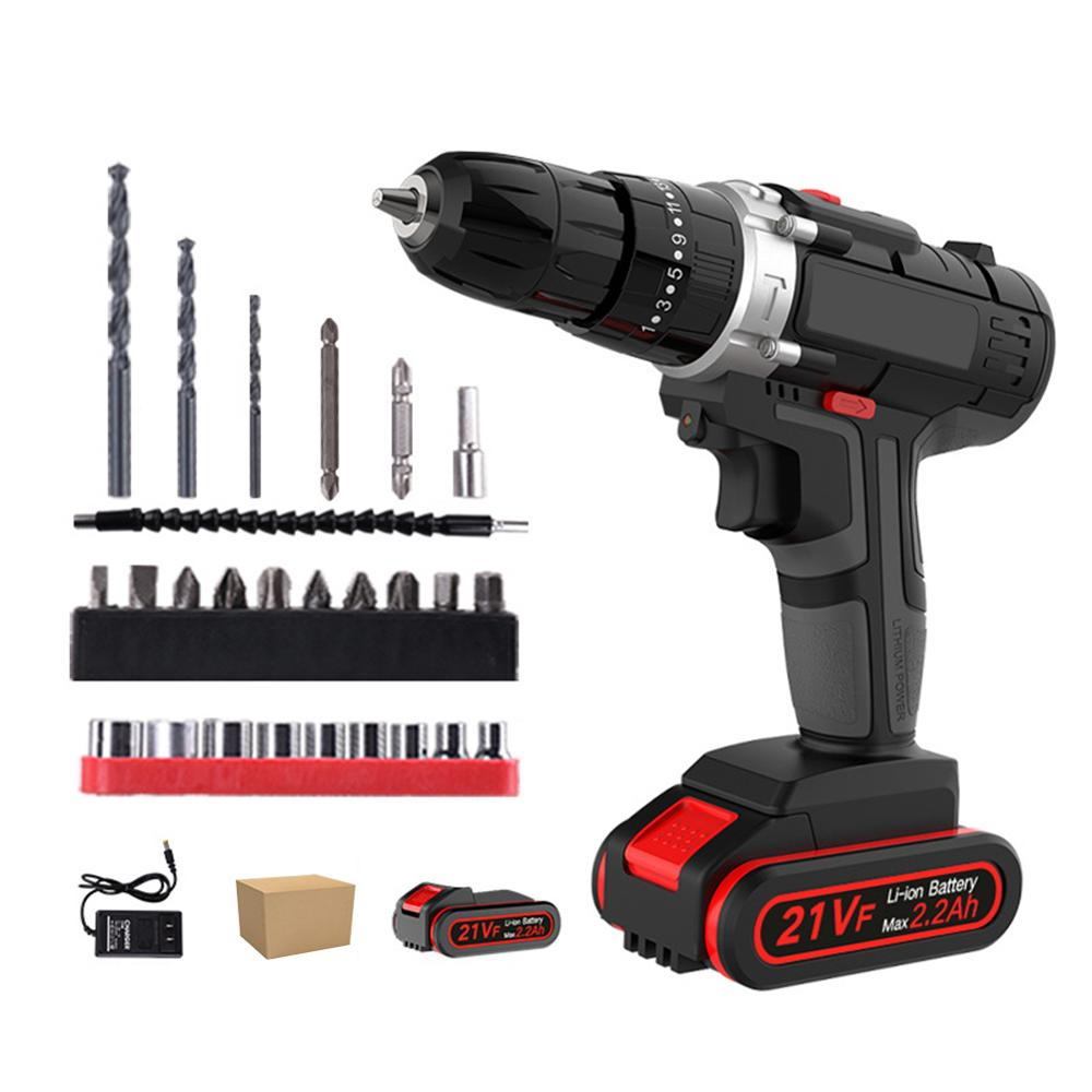 21V Electric Screwdriver Lithium Battery Rechargeable Handheld Drill Multi-function Cordless Drill Power Tools 2 Battery