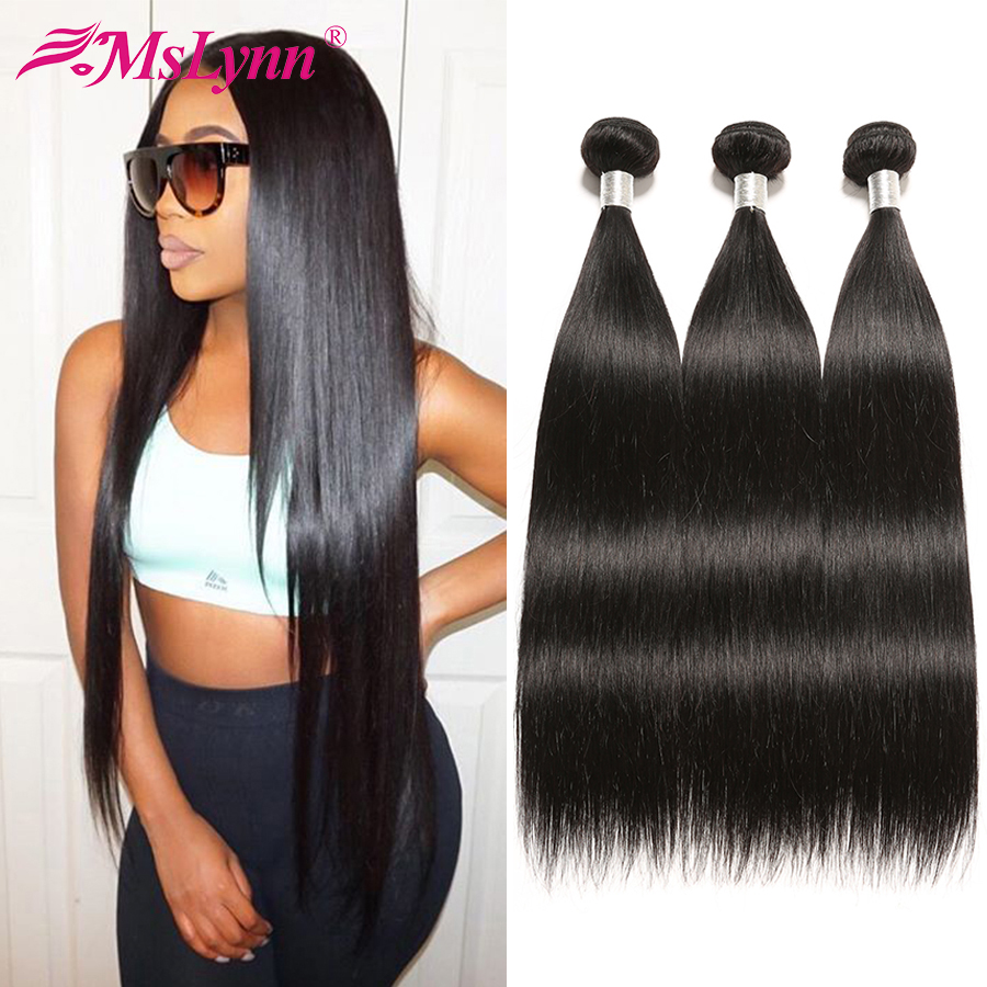Straight Hair Bundles Brazilian Hair Weave Bundles 1/4or 3 Bundles Human Hair Extensions 1B/#2/#4 Human Hair Bundles Mslynn Remy