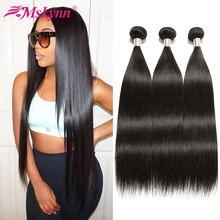 ישר שיער חבילות ברזילאי שיער Weave חבילות שיער טבעי חבילות 1/4 או 3 חבילות תוספות שיער טבעי שחור Mslynn