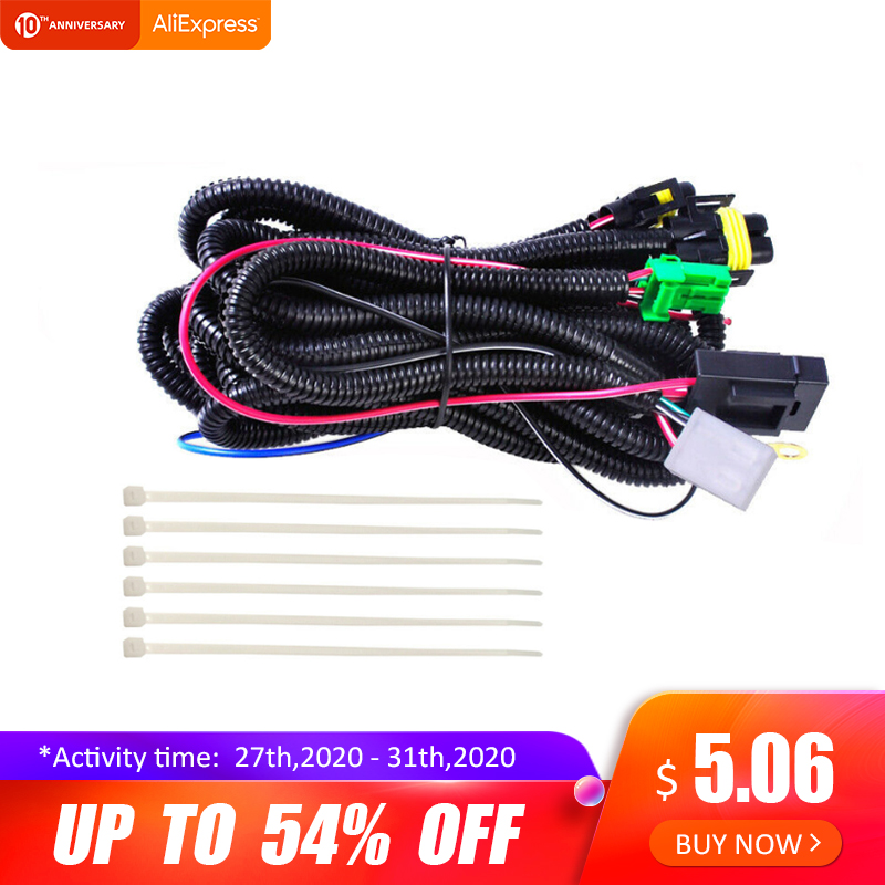 H11 Fog Light Lamp Wiring Harness Sockets Wire Connector LED Indicators Switch 12V 40A Relay ON/OFF Switch Kits
