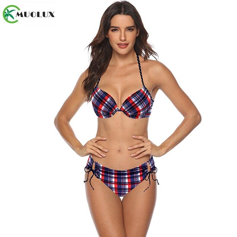 MUOLUX 2020 Sexy Bikini Set Two Piece Swimwear Women Swimsuit Tankini Swimsuit Lattice Bandage Push Up Beach Wear Bathing Suits