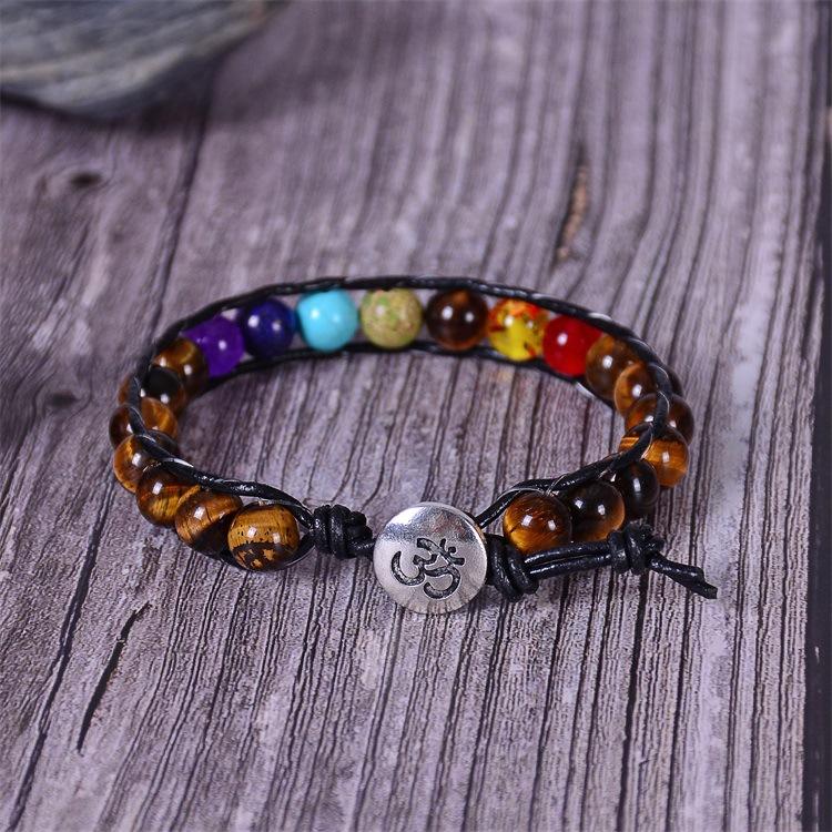 H76c3b53ff95645fda5e6871fb3ead77b5 - New Colorful 7 Chakra Bead Leather Rope Braided Bracelet Natural Tiger's Eye Volcanic Stone Energy Yoga Bracelet Women Jewelry