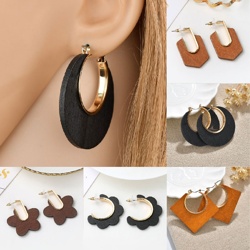 Ethnic Wooden Dangle Trendy Oversize Earrings for Women Suqare Round Gold Circle Geometric Drop Earring Female African Jewelry