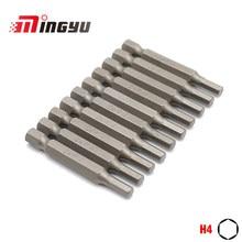 10 pces 1/4 polegada 50mm comprimento hex h2 h2.5 h3 h4 h6 chave de fenda conjunto de drivers de parafuso hexágono casa hex allen bits chave para ferramentas manuais