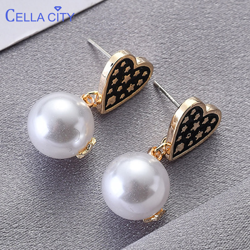Cellacity Heart Shaped Silver 925 Jewelry With Pearl Earrings For Women Geometry Creative Design Ear Drops Star Female Dating