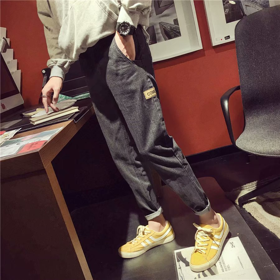 New Style BOY'S Jeans Korean-style Trend Students Loose-Fit Versatile Harajuku Autumn Straight-Cut Capri Pants Sub-