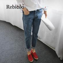 Male girlfriend jeans 2019 retro distressed stretch torn denim washed pants female