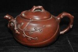 wedding decoration Marked Old Chinese yixing zisha pottery carved Plum blossom Teapot pot Tea Maker w Posągi i rzeźby od Dom i ogród na
