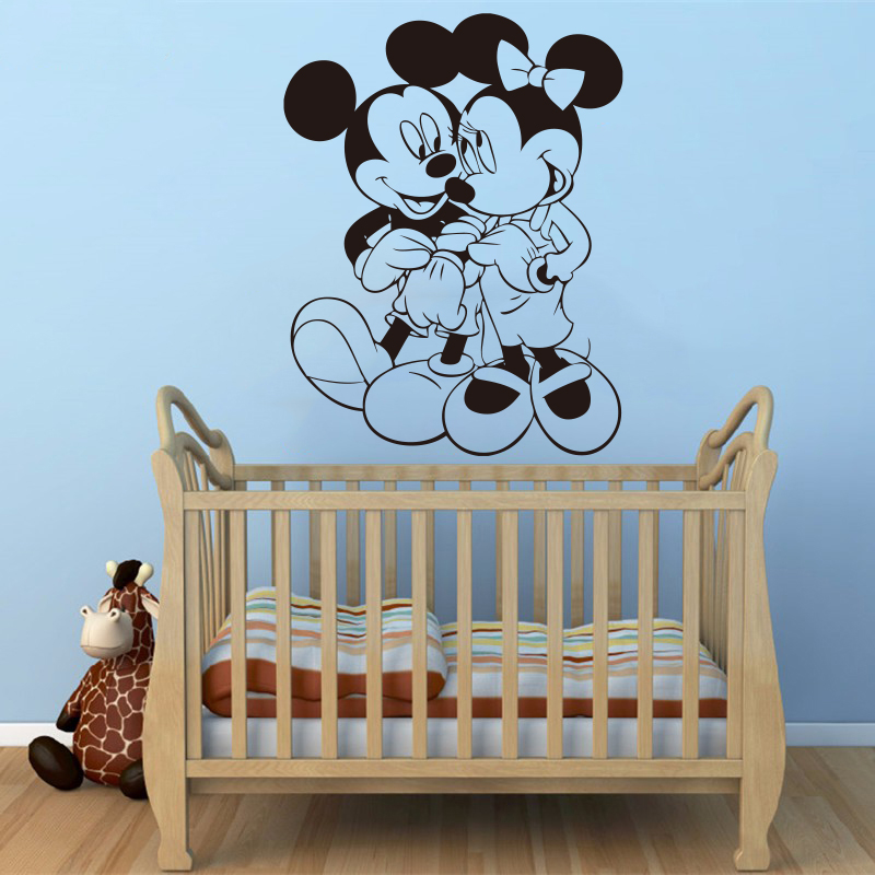 Disney Mickey Mouse & Minnie  Kids baby wall stickers for kids room bedroom accessories home decoration
