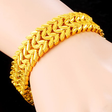 Fashion Jewelry 24k Gold Bracelet Womens Fine Carved Thick and Weighty Indian
