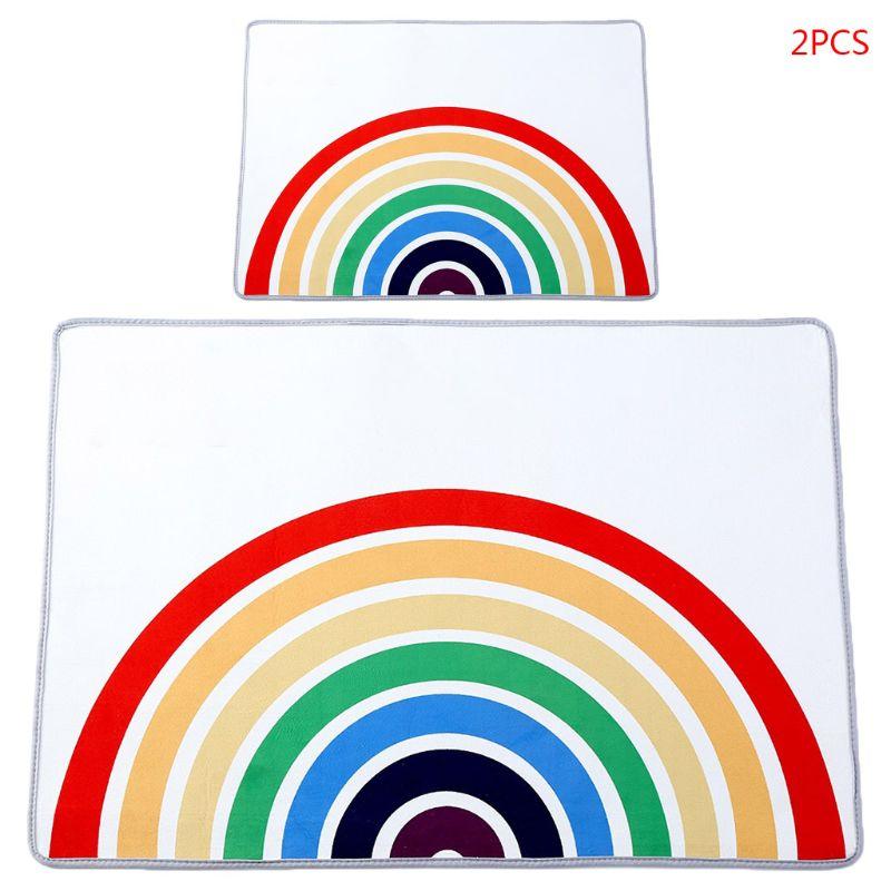 2Pcs Kids Room Rainbow Carpet Crawling Pad Non-slip Baby Play Mat Game Rug Decor H055