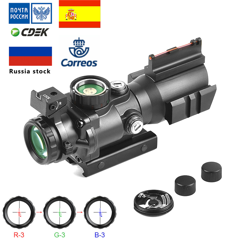 4x32  Acog Optics Rifle Scope With Red Green Blue  Illuminated Tactical Collimator Sight For Hunting Airsoft Sniper Magnifier