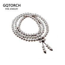 Echt 925 Sterling Silber Multi Schichten Runde 108 Perlen Armband Für Frauen Buddhistischen Handgemachte DIY Perlen Schmuck