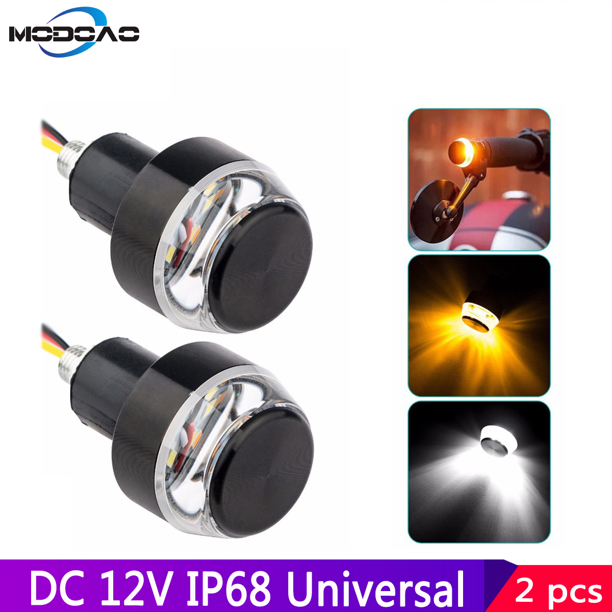 2pcs LED Motorcycle Handlebar End Signal Lights Indicator Flasher 22mm Marker Lamp Universal Grip Side Direction Light