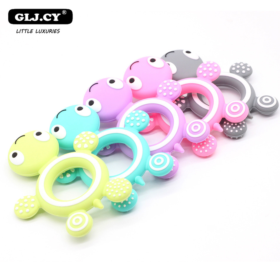 10PCS BPA Free Silicone Turtle Teething Chewable Pendant Nursing DIY Necklace Baby Pacifier Dummy Teether Toy Accessories