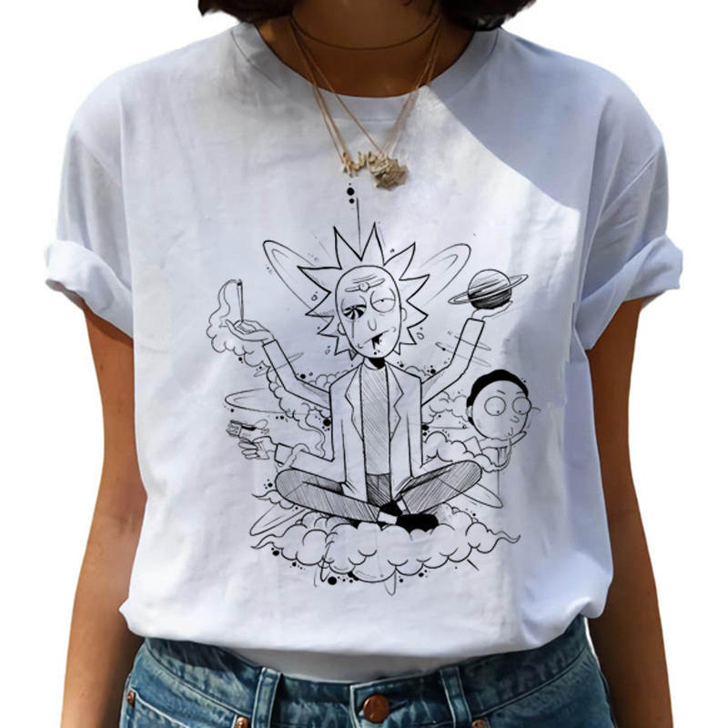 T-shirt Clothes For Women Cartoon T-shirt Women T-shirts Harajuku Ricky N Morty T-shirt Graphic T-shirt Top Trendy T-shirt Woman