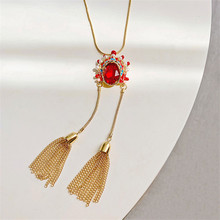 FYUAN Long Fringe Sweater Chain Necklaces for Women Bijoux Red Crystal Peking Opera Pendant Necklaces Statement Jewelry Gifts
