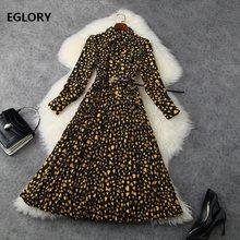 Женское плиссированное платье с поясом, Декорированное платье с отложным воротником и принтом сердечек, платье с длинным рукавом, весна-лет...