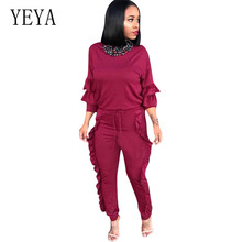 YEYA Sexy Women Jumpsuits Autumn Ladies High Waisted Lace-up Playsuits Bohemian Ruffled Bodycon Bandage Long Sleeve Overalls
