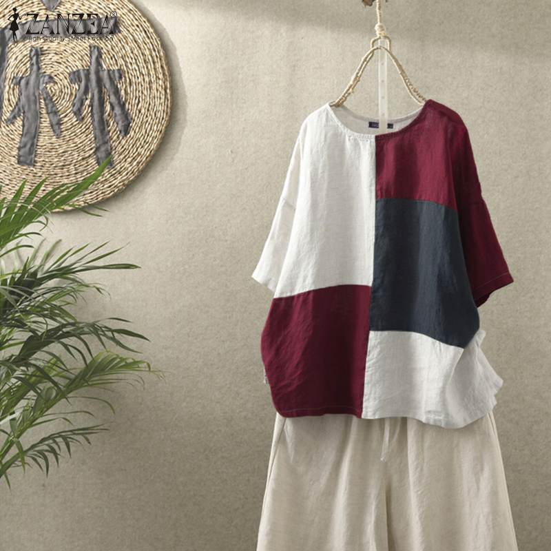 Summer Casual Half Sleeve Blouse ZANZEA Women Color Block Shirts Vintage Cotton Linen Blusas Chemise Loose Tunic Tops Mujer