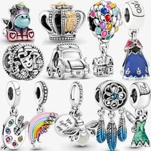 100% 925 sterling silver rainbow charm balloon pendant fit original pandora bracelet women fine jewelry accessories making gift
