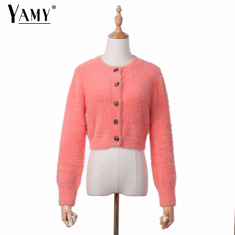 Fall Mohair Sweaters Korean Crop Sweater Knitted Cropped Cardigan Open Knit Button Sweater Pink Vintage Sexy Cardigan Women