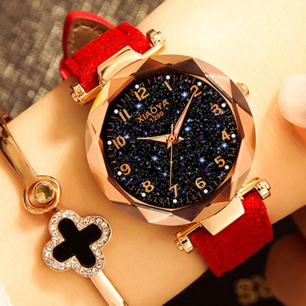 Fashion Women Watches 2019 Best Sell Star Sky Dial Clock Luxury Rose Gold Women's Bracelet Quartz Wrist Watches Relogio Feminino