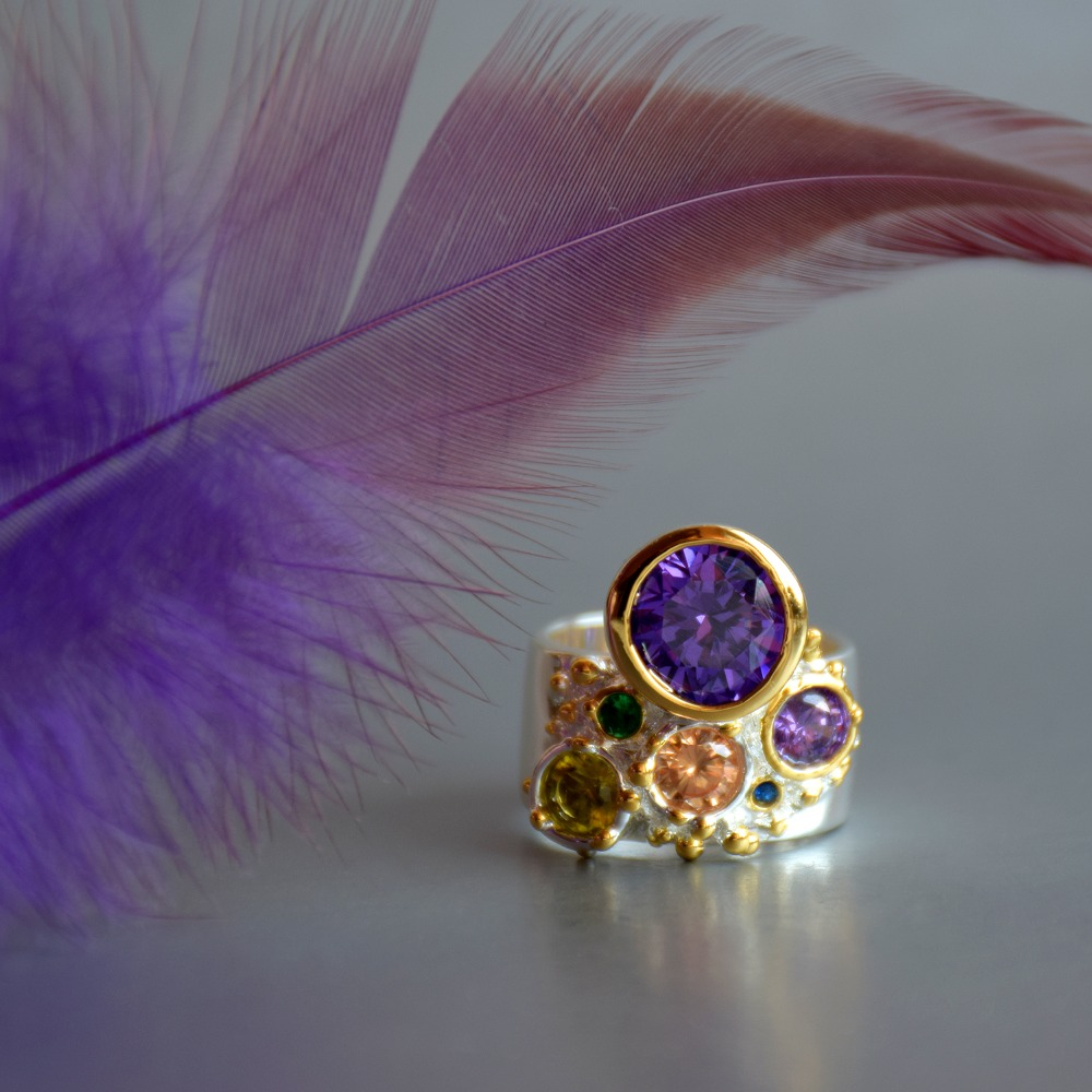 WA11704 DreamCarnival 1989 New Arrive Colorful Feminine Zircon Ring for Women Big Purple Stone Gothic Wedding Engagement Jewelry8